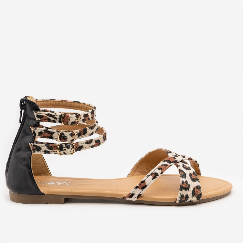 Women's Leopard Print Cuffed Ankle Sandals - Anna Shoes - Leopard / 5