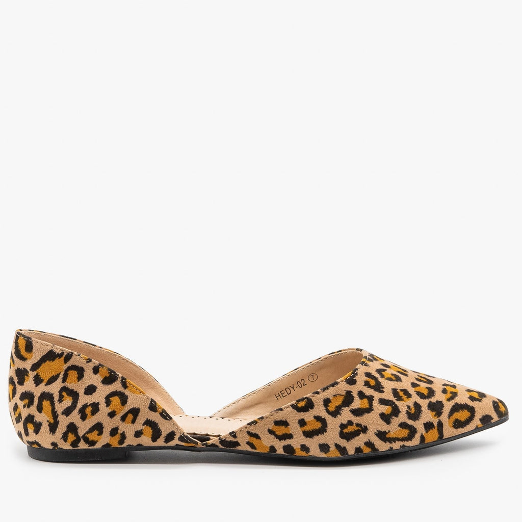 Womens Leopard Print dOrsay Pointed Toe Flats - Refresh - Leopard / 5