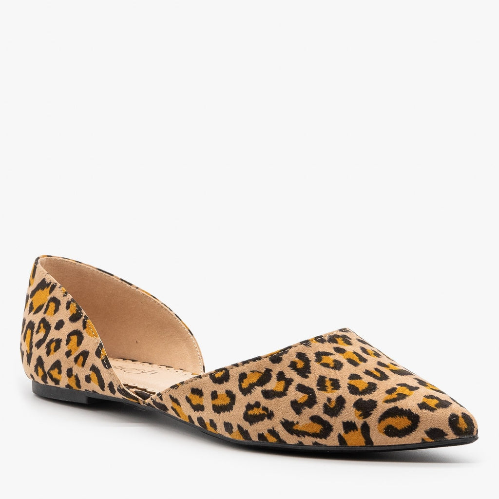 Womens Leopard Print dOrsay Pointed Toe Flats - Refresh