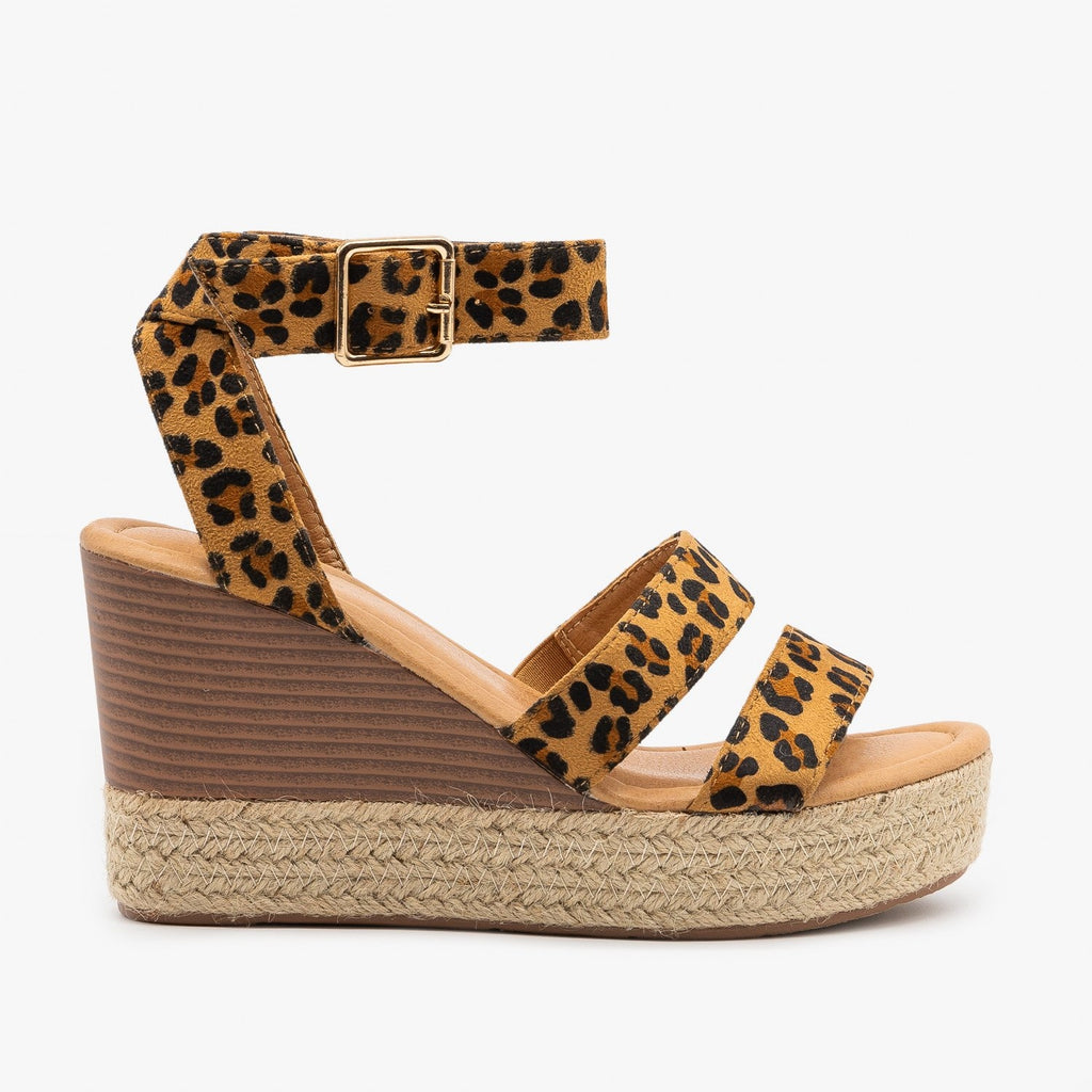 Womens Leopard Print Espadrille Stacked Wedges - Bella Marie - Leopard / 5