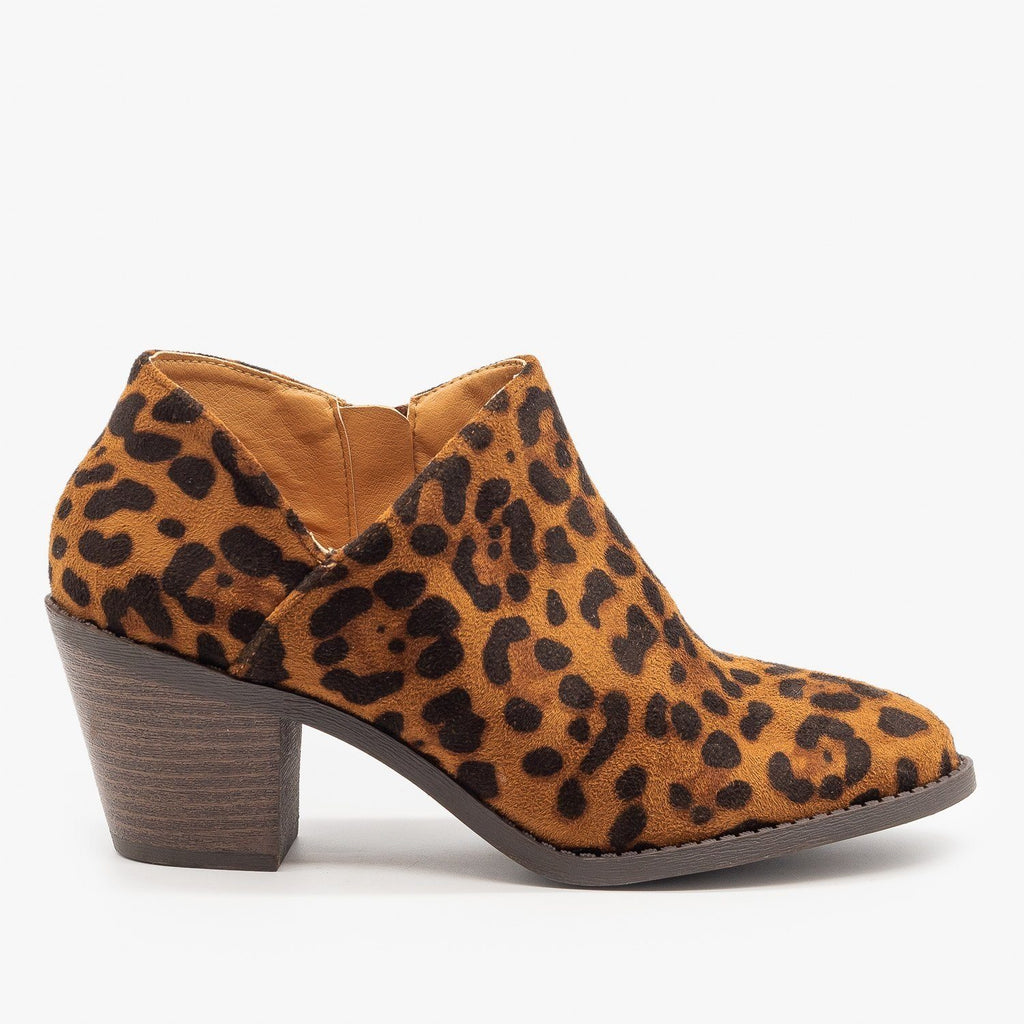 Womens Leopard Print Low Ankle Booties - Mata