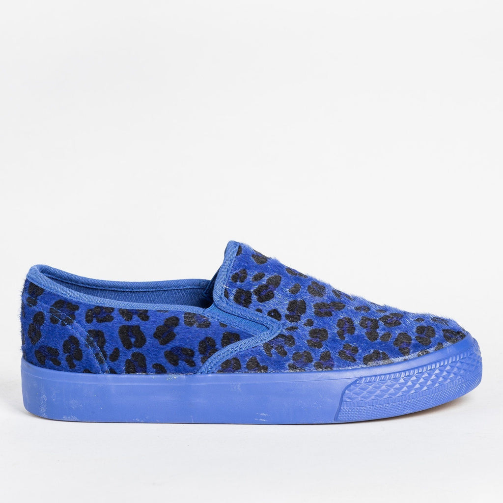 Womens Leopard Print Pony Hair Slip-On Sneakers - Bucco - Blue / 5