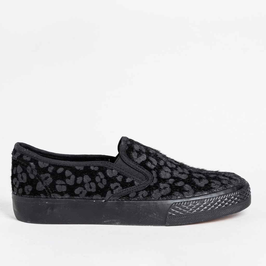 Womens Leopard Print Pony Hair Slip-On Sneakers - Bucco - Black / 5