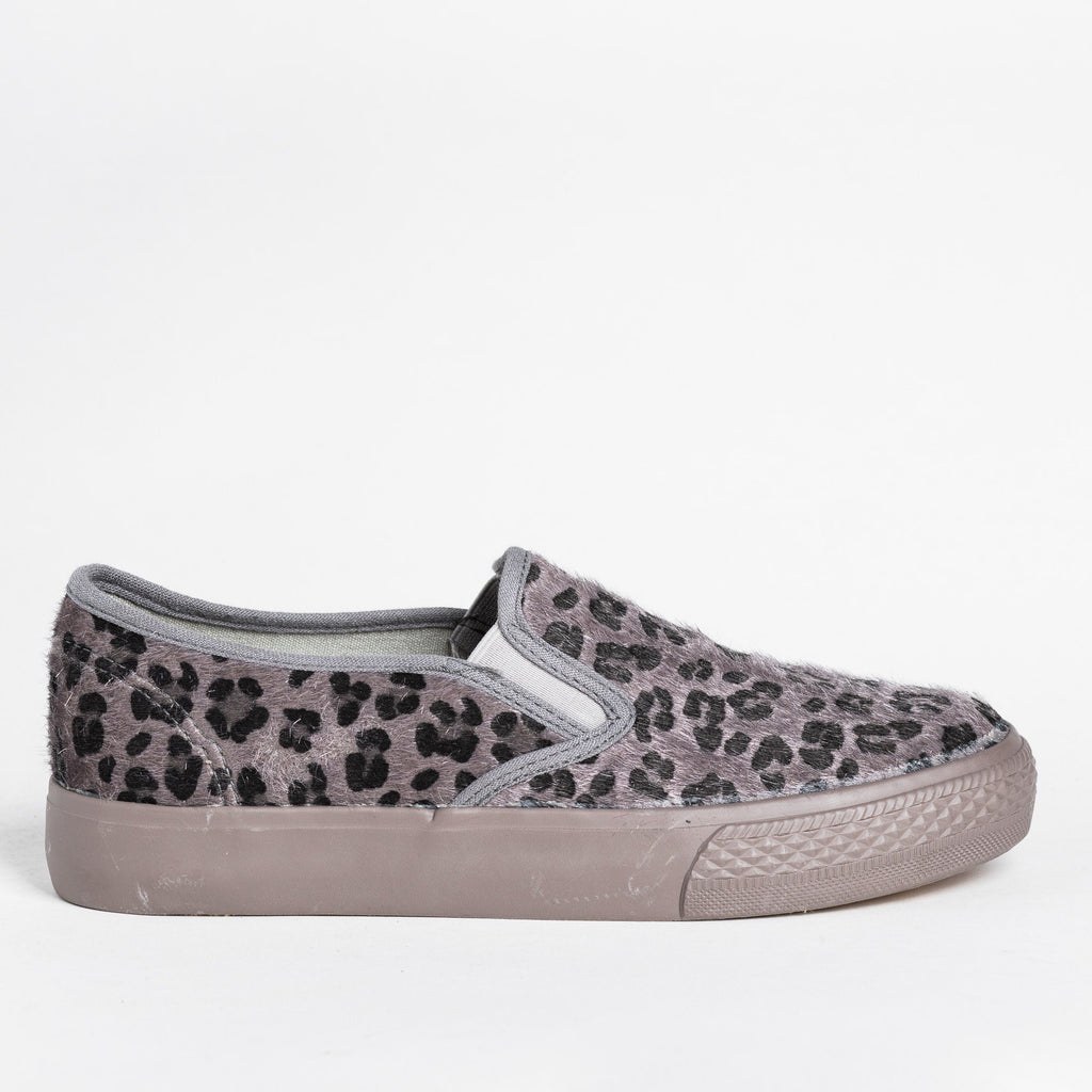 Womens Leopard Print Pony Hair Slip-On Sneakers - Bucco - Gray / 5