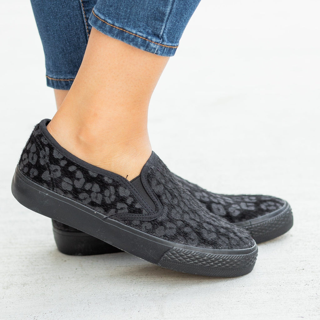 Womens Leopard Print Pony Hair Slip-On Sneakers - Bucco