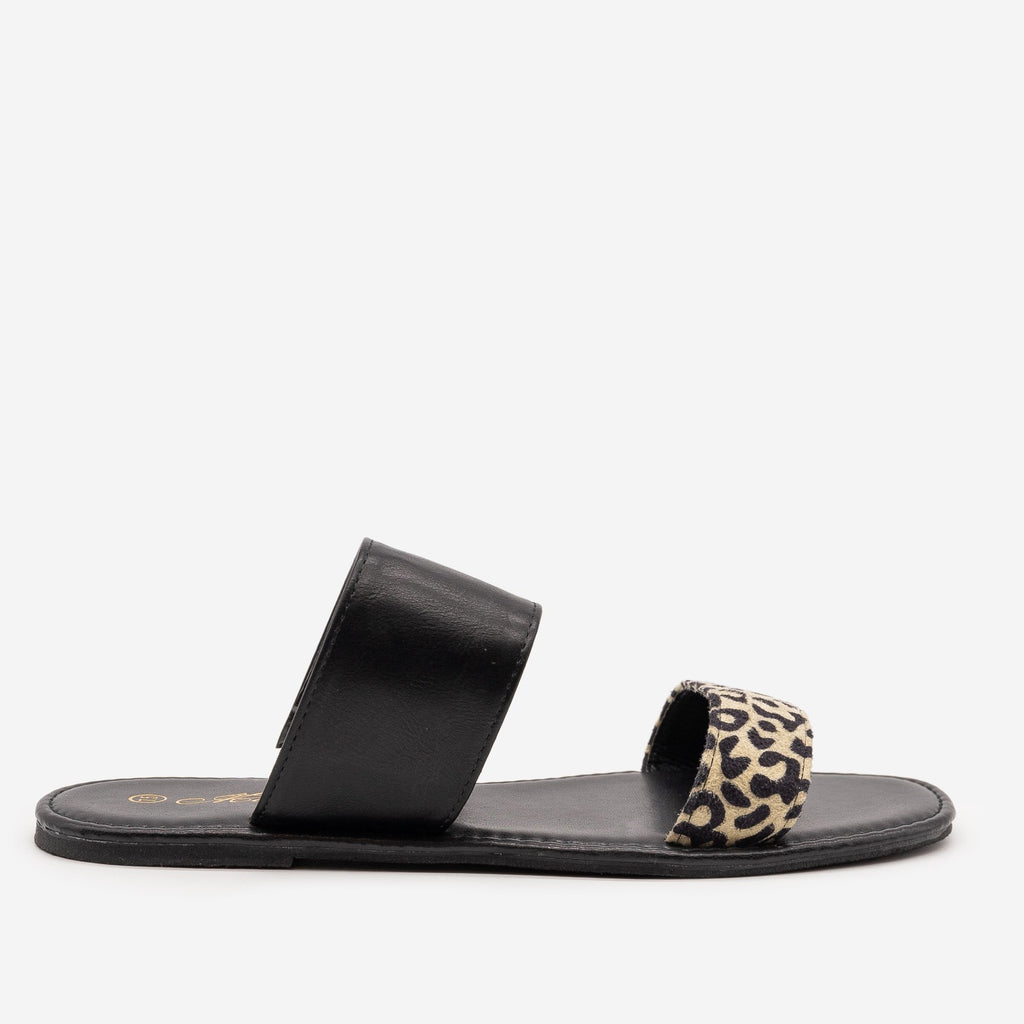 Women's Leopard Print Slip On Sandals - Mata