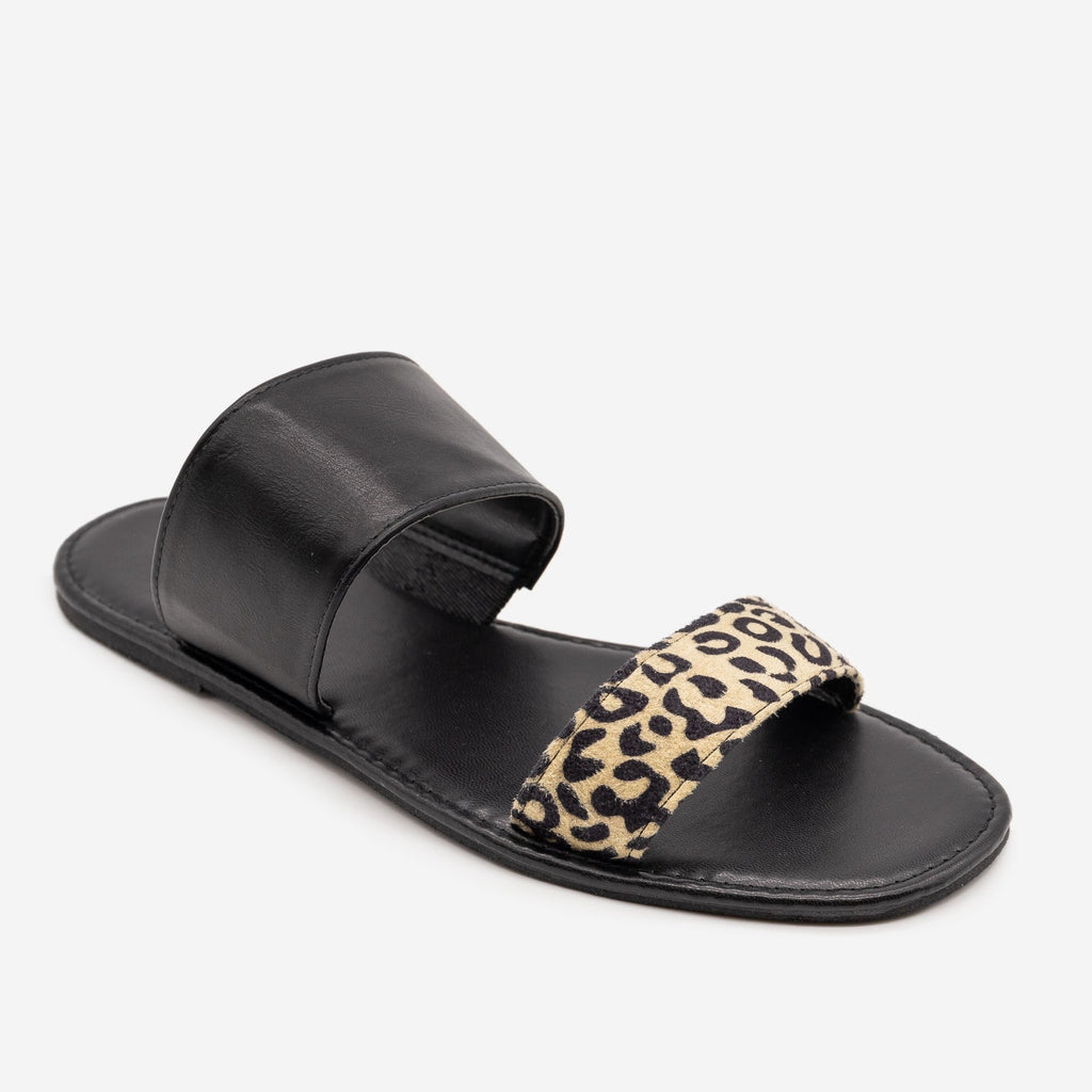 Women's Leopard Print Slip On Sandals - Mata - Black Leopard / 5