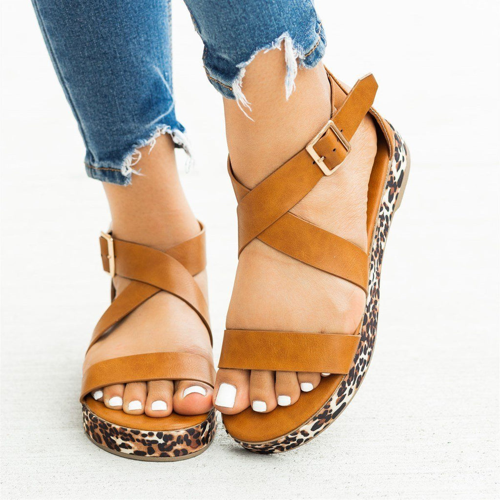 Womens Leopard Print Sole Sandals - Bamboo Shoes