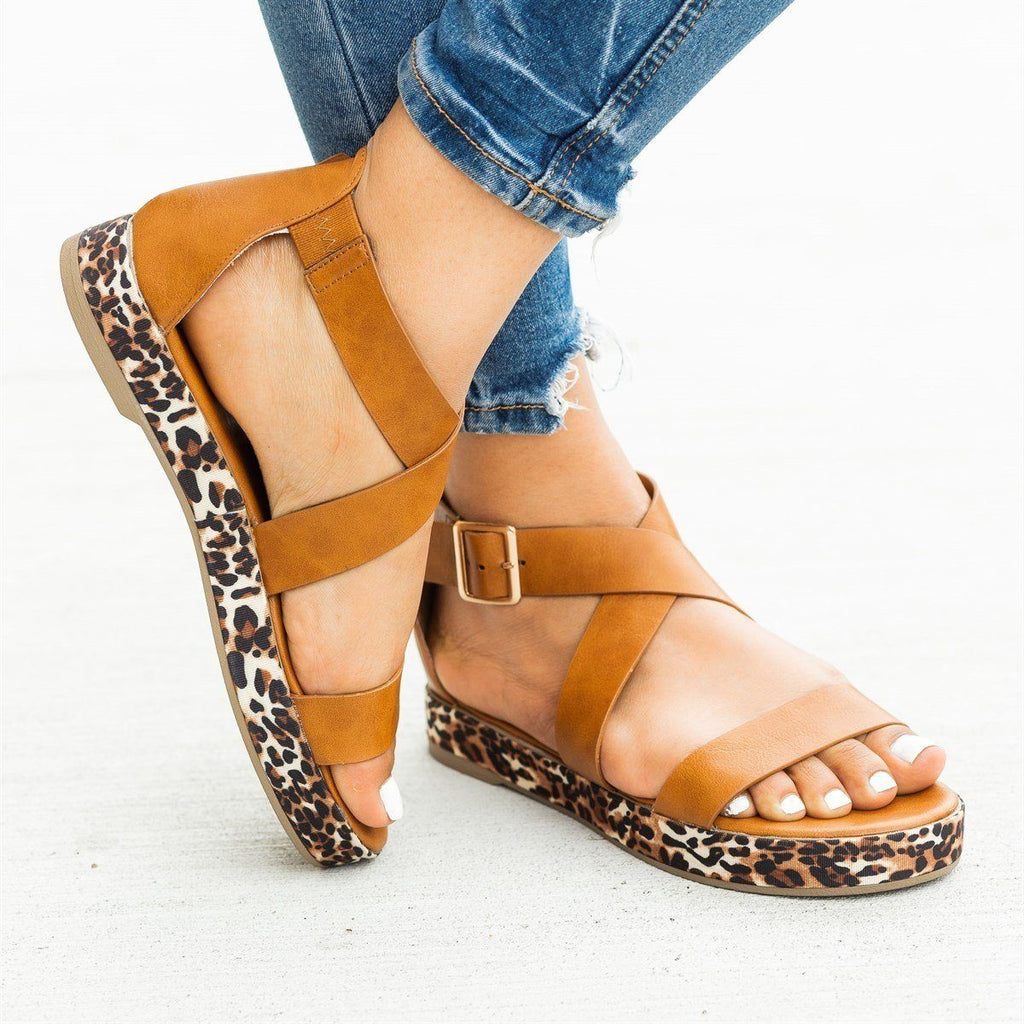 Womens Leopard Print Sole Sandals - Bamboo Shoes - Tan Leopard / 5