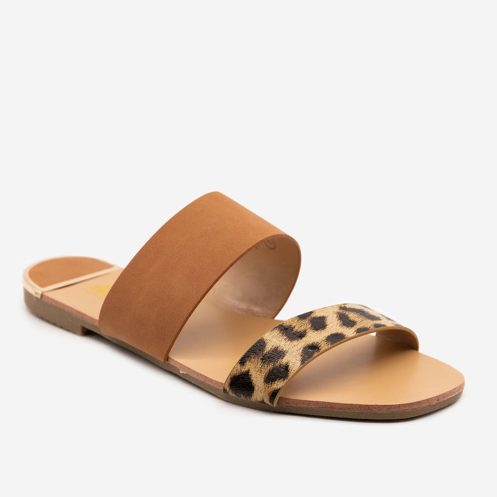 Women's Leopard Print Square Toe Sandals - AMS Shoes - Leopard / 5