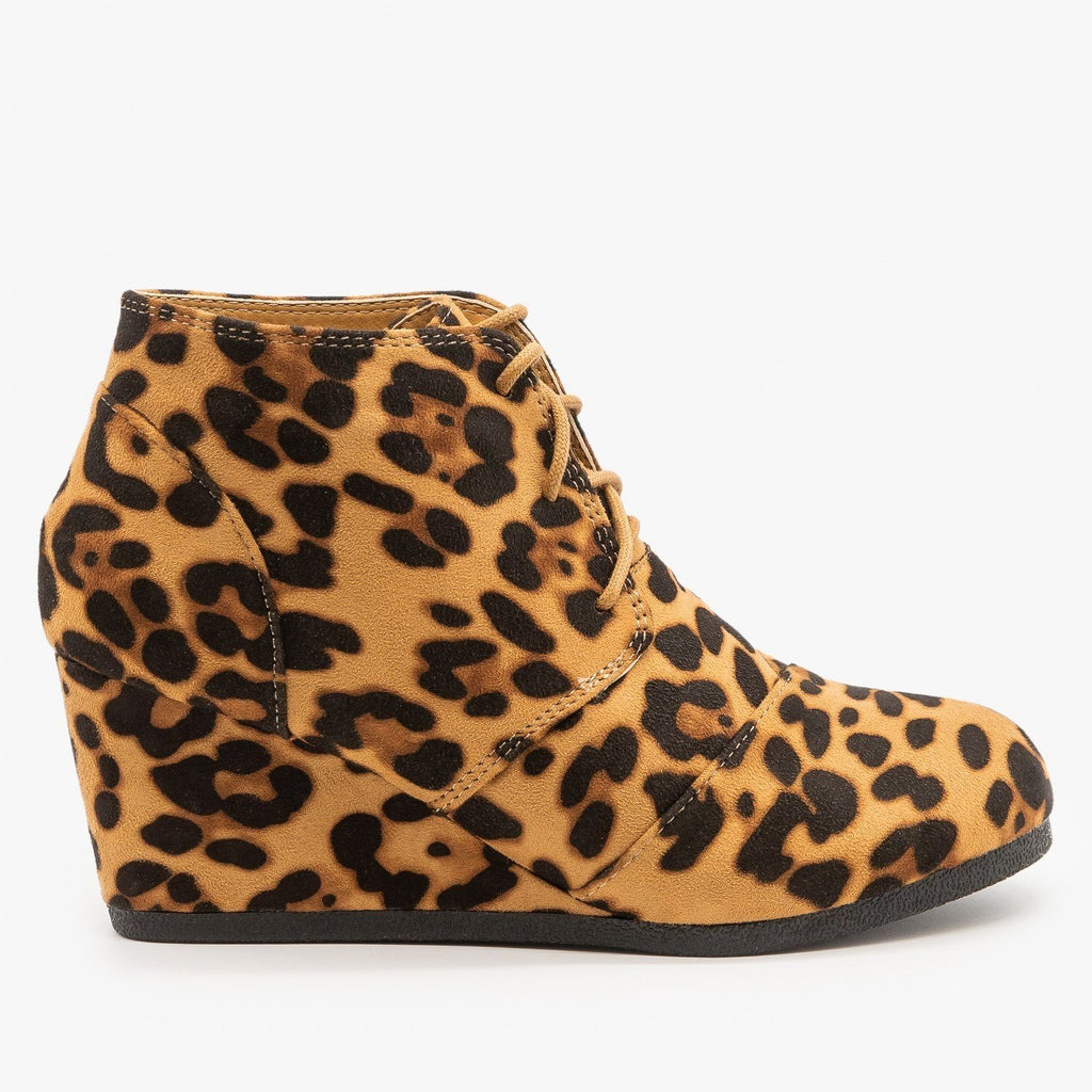 Womens Leopard Print Wedge Lace Up Booties - Lovmark - Leopard / 5