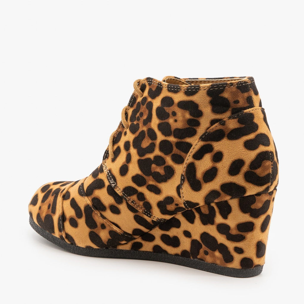 Womens Leopard Print Wedge Lace Up Booties - Lovmark