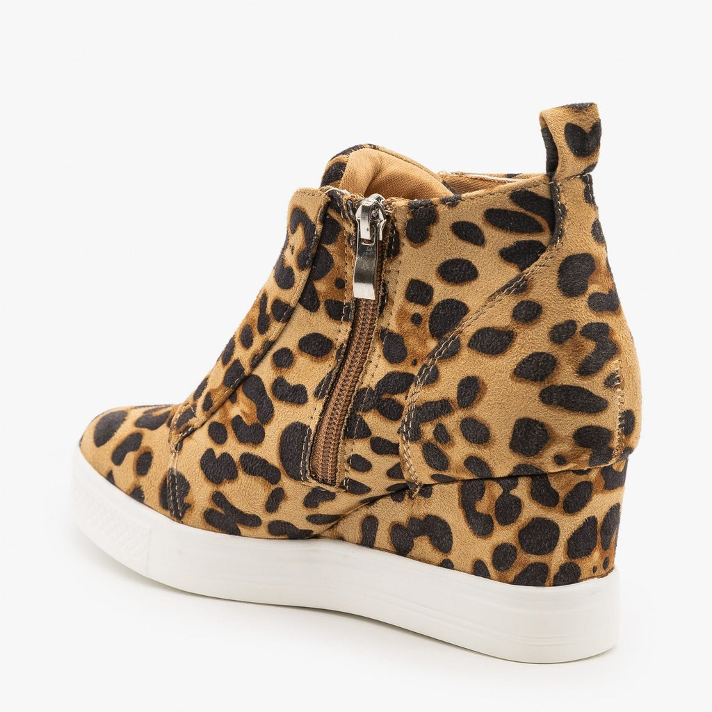 Womens Leopard Sneaker Wedges - CCOCCI