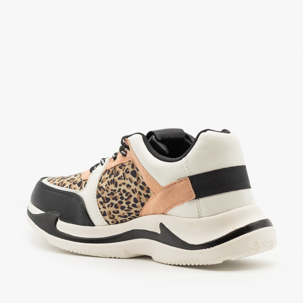Womens Leopard Sporty Fashion Sneakers - Qupid Shoes