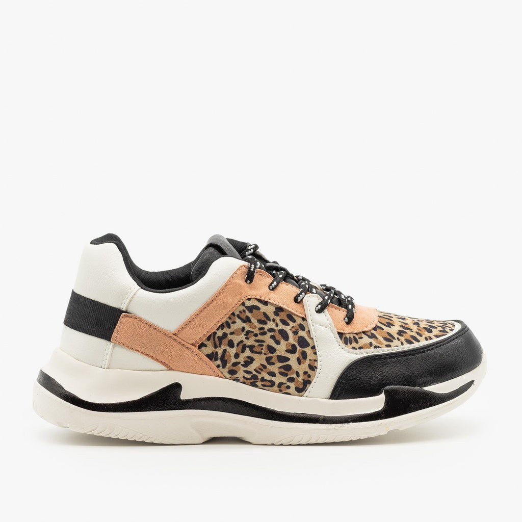 Womens Leopard Sporty Fashion Sneakers - Qupid Shoes - Leopard / 5