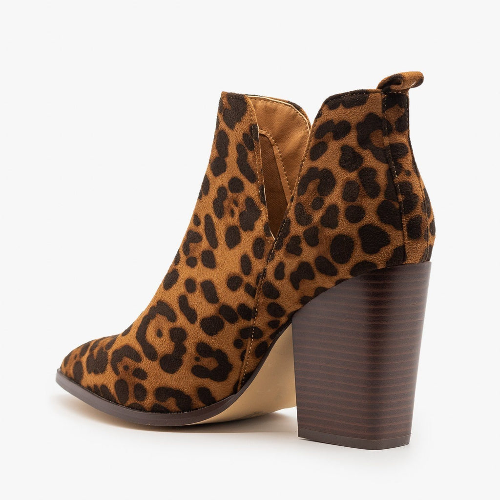 Womens Leopard V-Cut Pointed Toe Booties - Mata