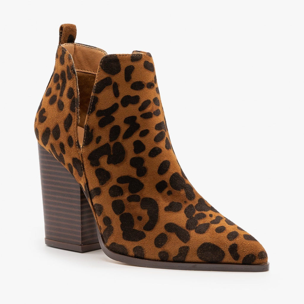 Womens Leopard V-Cut Pointed Toe Booties - Mata - Leopard / 5