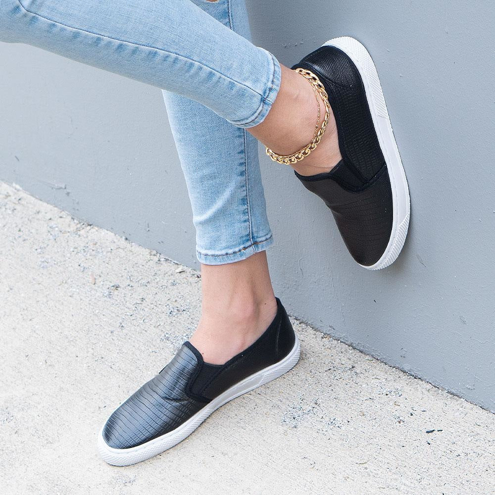 Women's Lizard Print Slip-On Sneakers - Qupid Shoes - Black Lizard / 5