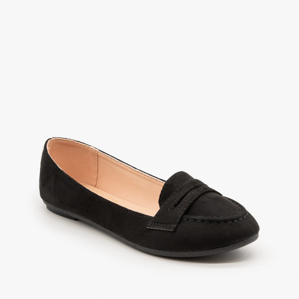 Womens Loafer Flats - Forever - Black / 5