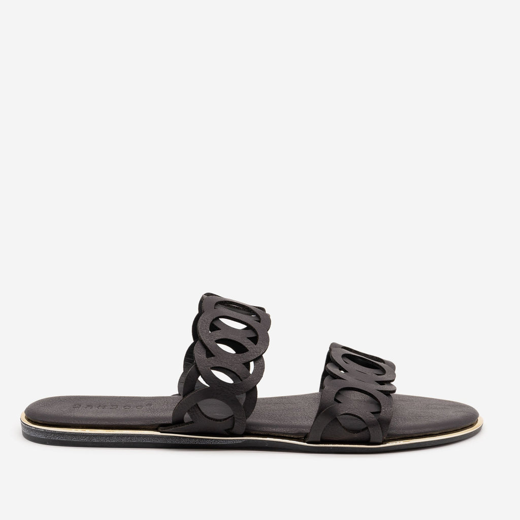 Women's Looped Double Band Sandals - Bamboo Shoes - Black / 5