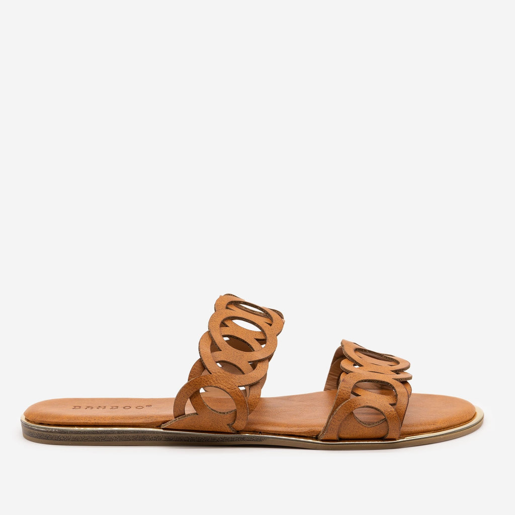 Women's Looped Double Band Sandals - Bamboo Shoes - Tan / 5