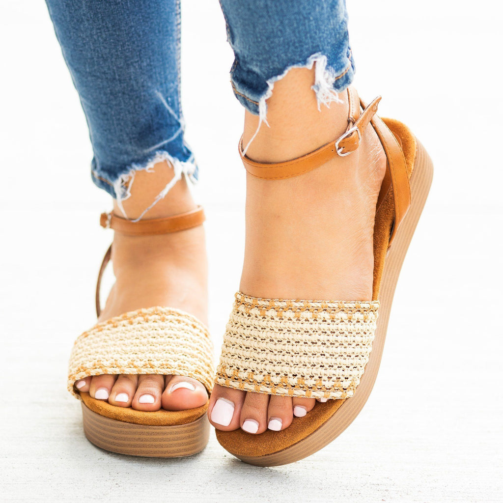 Womens Lovely Basketweave Stacked Flatform Sandals - Bamboo Shoes
