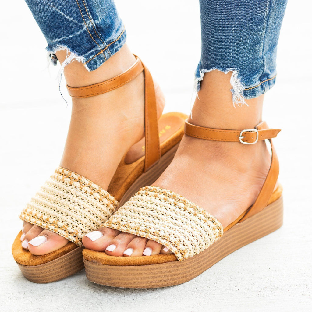 Womens Lovely Basketweave Stacked Flatform Sandals - Bamboo Shoes - Tan / 5