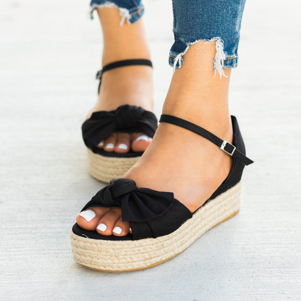 Womens Lovely Bow Tie Espadrille Flatform Sandals - Bamboo Shoes
