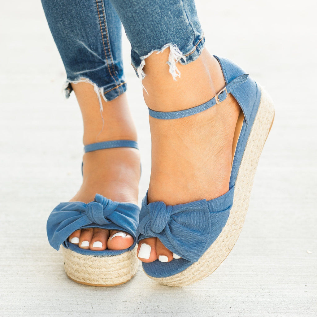 Womens Lovely Bow Tie Espadrille Flatform Sandals - Bamboo Shoes - Blue Denim / 5