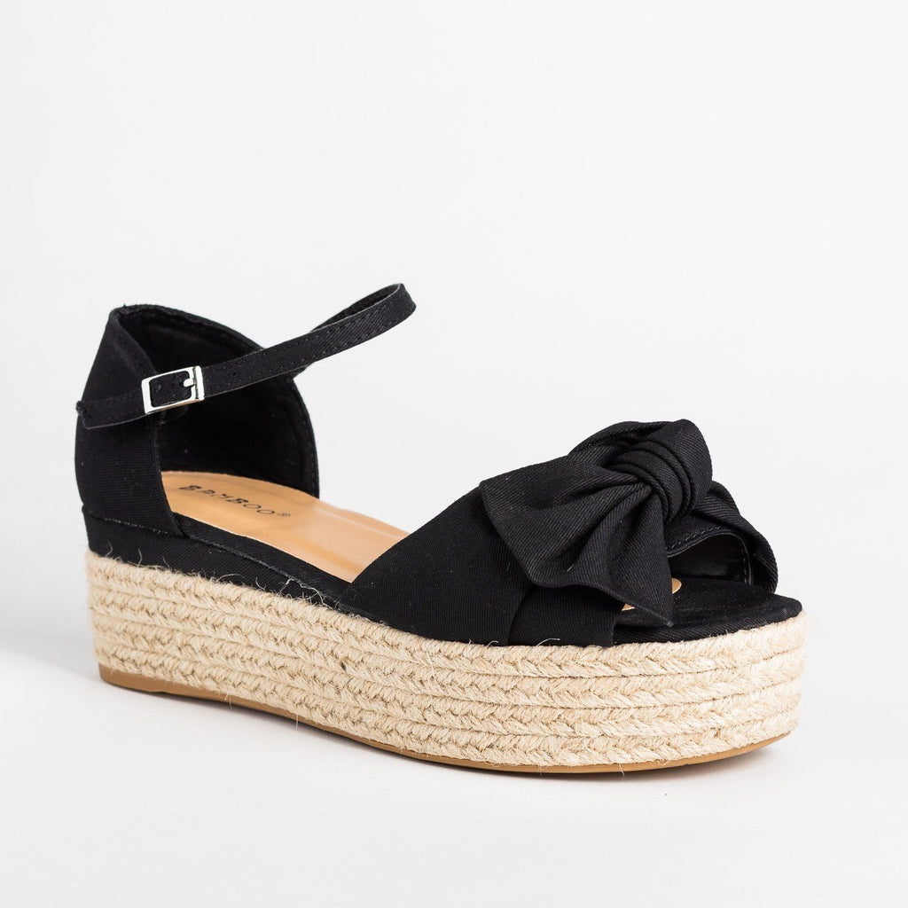 Womens Lovely Bow Tie Espadrille Flatform Sandals - Bamboo Shoes - Black / 5