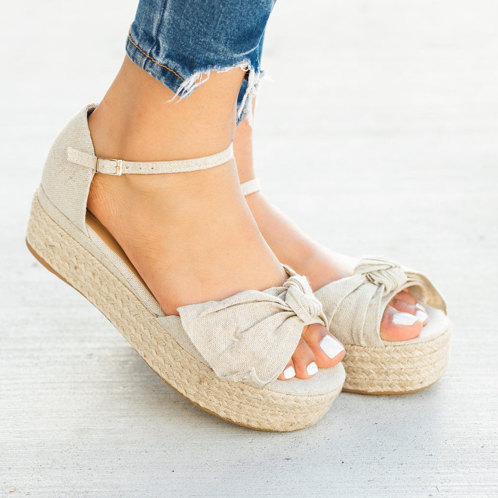 Womens Lovely Bow Tie Espadrille Flatform Sandals - Bamboo Shoes - Natural / 5