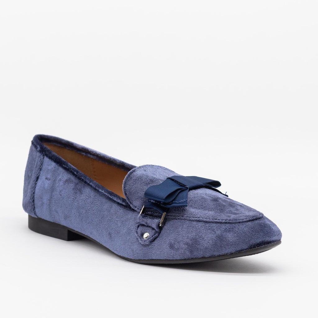 Womens Lovely Bow Tie Velvet Loafers - Qupid Shoes - Dark Blue / 5