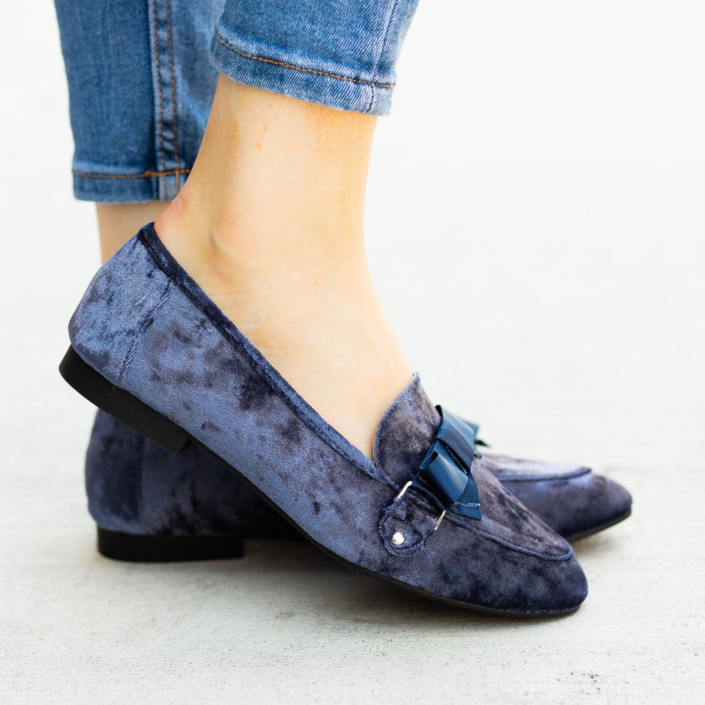Womens Lovely Bow Tie Velvet Loafers - Qupid Shoes