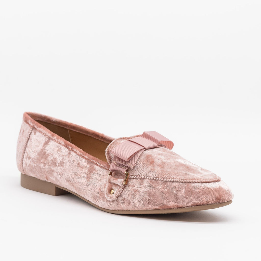 Womens Lovely Bow Tie Velvet Loafers - Qupid Shoes - Pink / 5