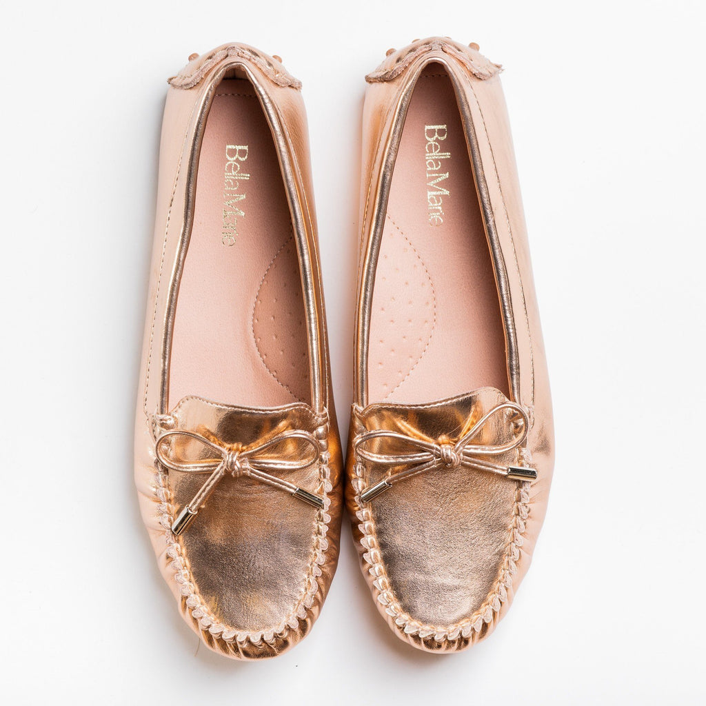 Womens Lovely Classic Loafer Flats - Bella Marie - Rose Gold / 5