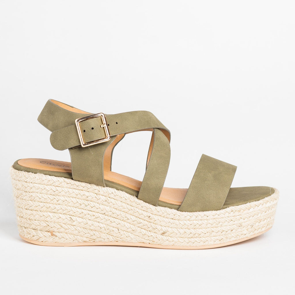 Womens Lovely Criss Cross Espadrille Wedges - Soda Shoes - Pale Khaki / 5
