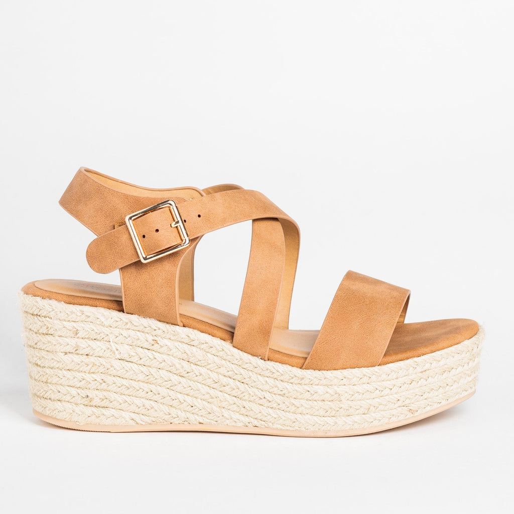 Womens Lovely Criss Cross Espadrille Wedges - Soda Shoes - Tan / 5