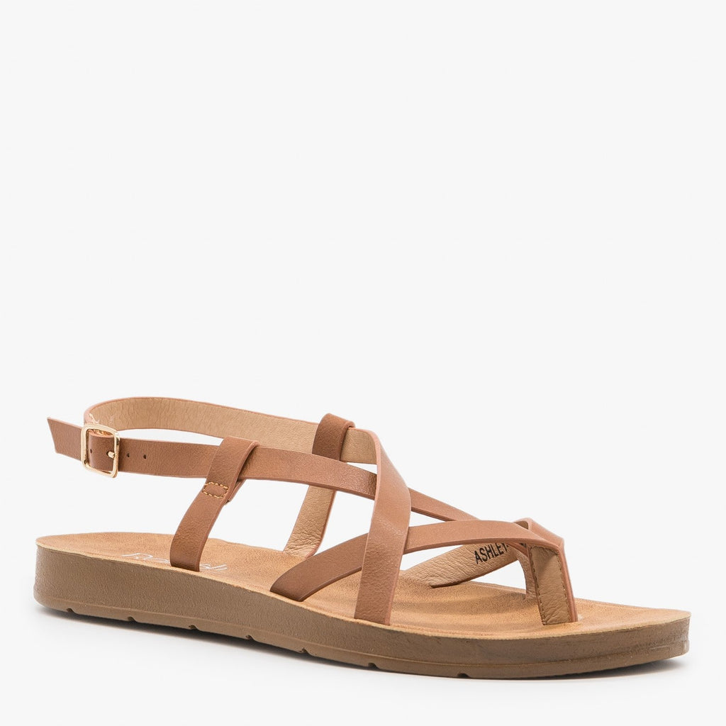 Women's Lovely Criss Cross Fashion Sandals - Refresh - Tan / 5