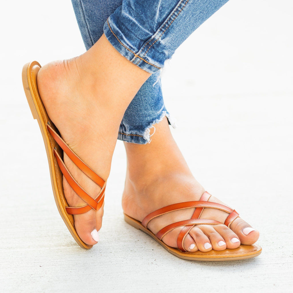 Womens Lovely Criss Cross Slip-On Sandals - Soda Shoes