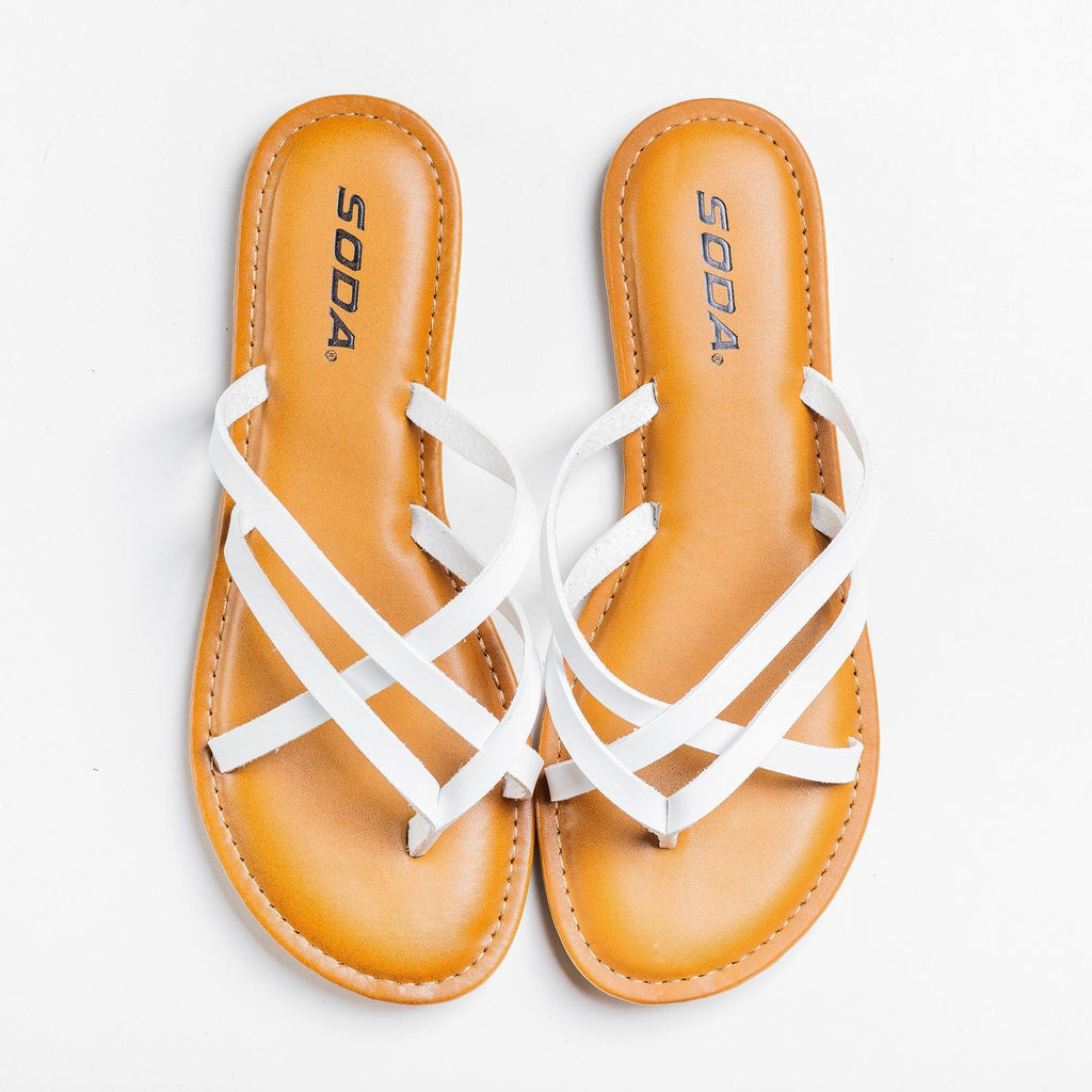 Womens Lovely Criss Cross Slip-On Sandals - Soda Shoes - White / 5