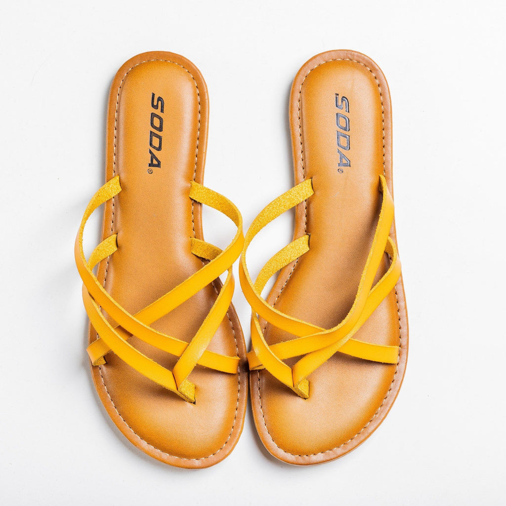 Womens Lovely Criss Cross Slip-On Sandals - Soda Shoes - Yellow / 5