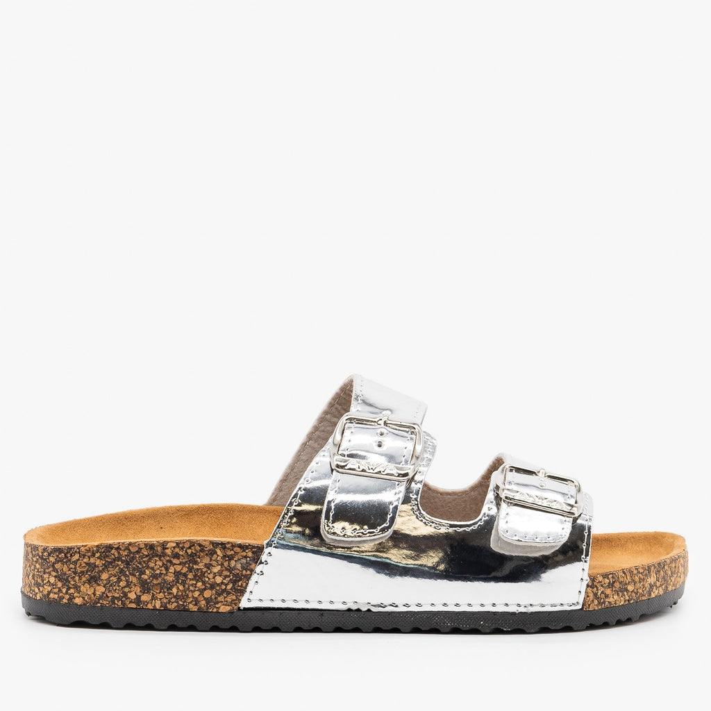 Womens Lovely Double Buckle Fashion Sandals - Anna Shoes - Silver / 5