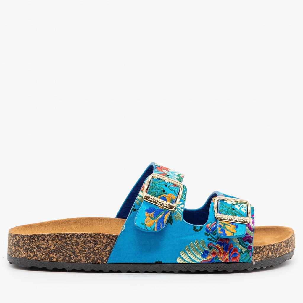 Womens Lovely Double Buckle Fashion Sandals - Anna Shoes - Blue Multi / 5