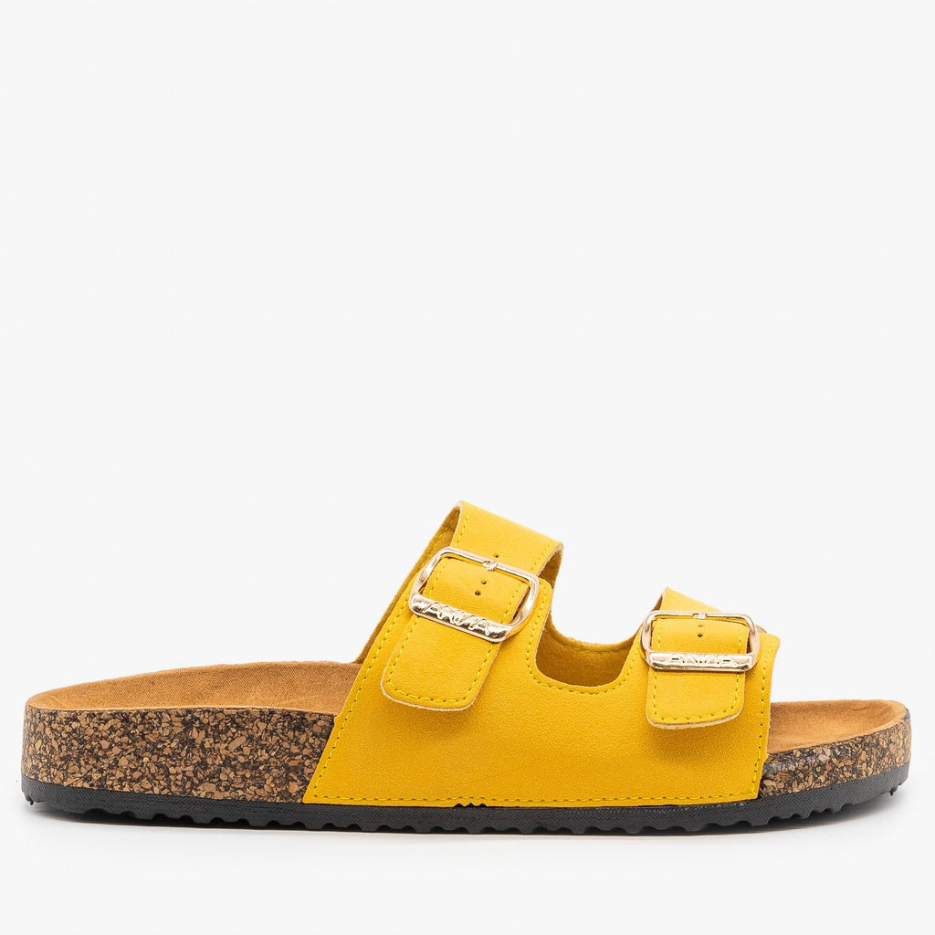 Womens Lovely Double Buckle Fashion Sandals - Anna Shoes - Mustard / 5