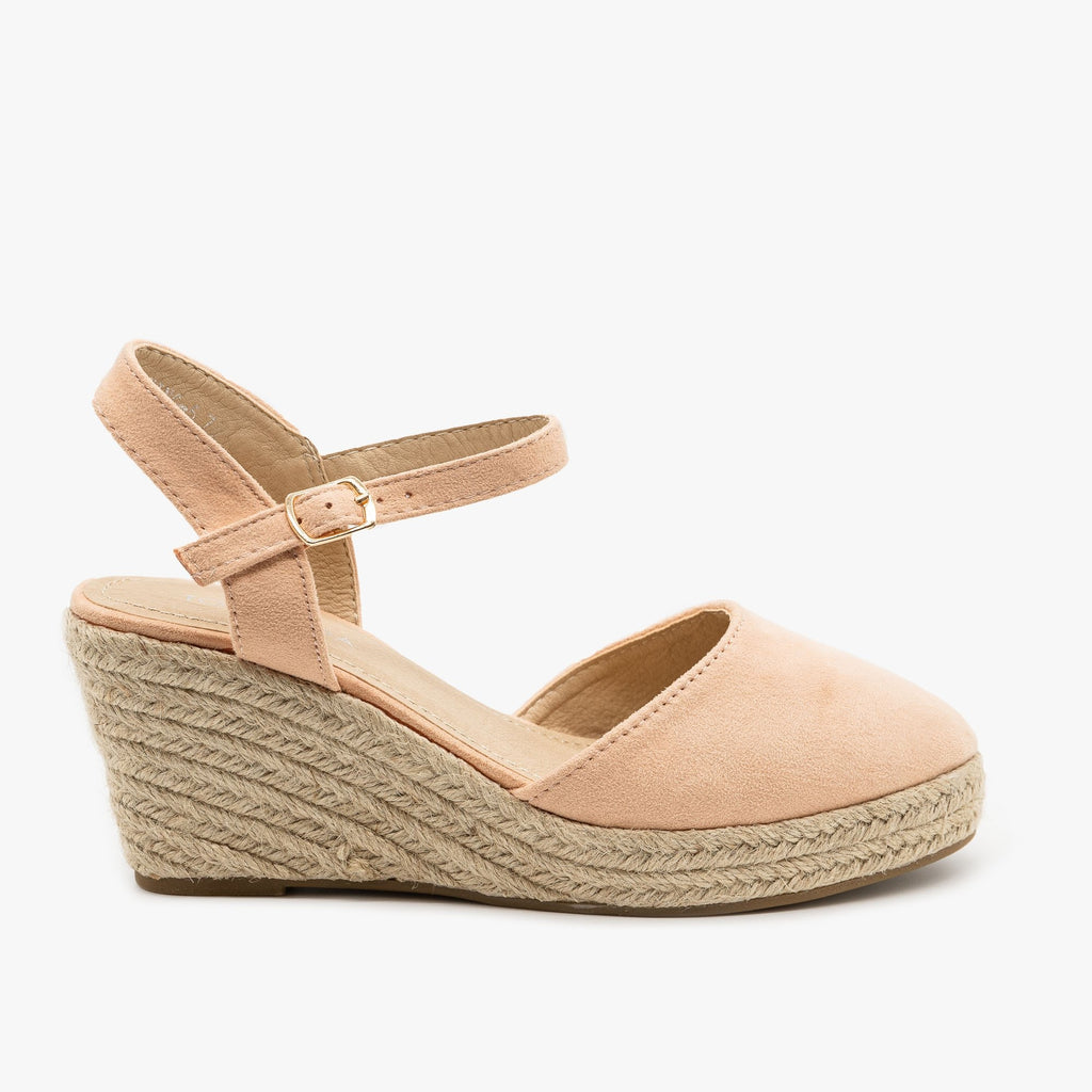 Womens Lovely Everyday Espadrille Wedges - Top Moda - Blush / 5