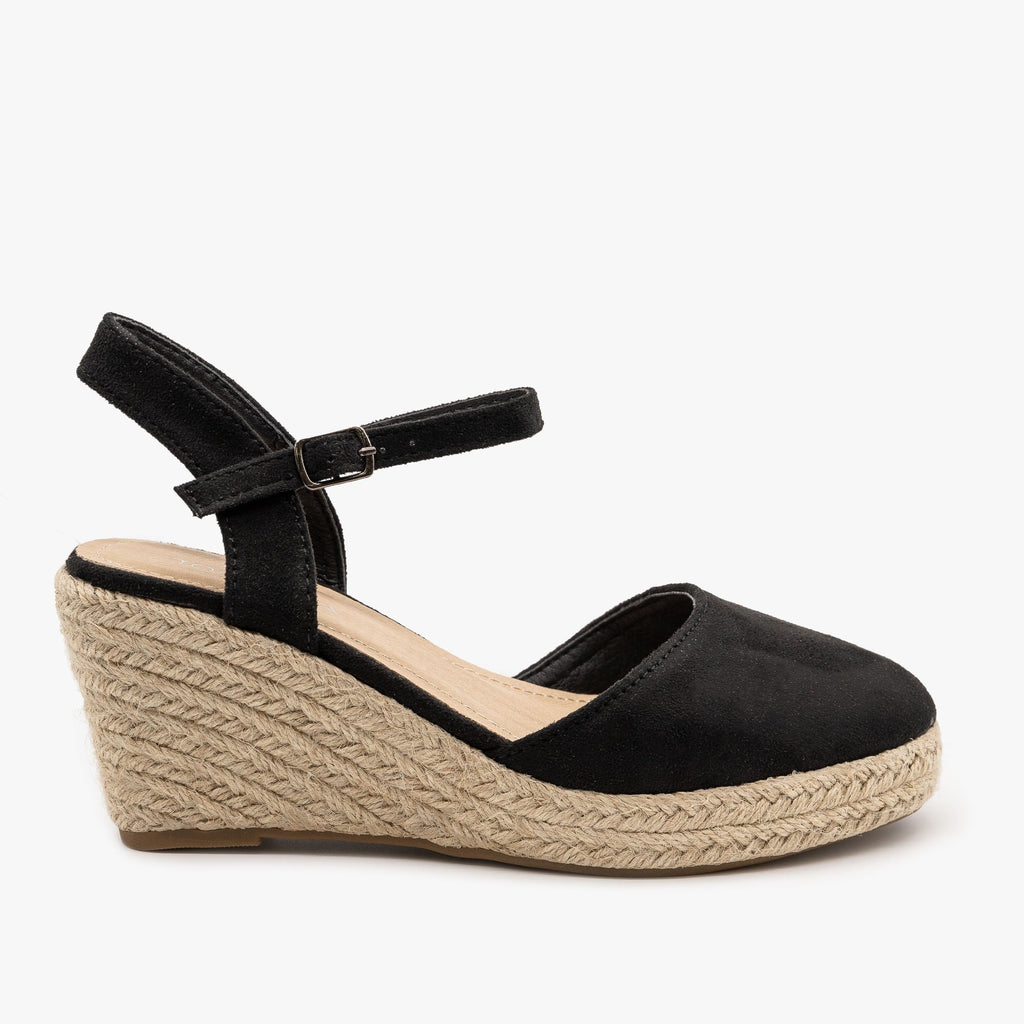 Womens Lovely Everyday Espadrille Wedges - Top Moda - Black / 5