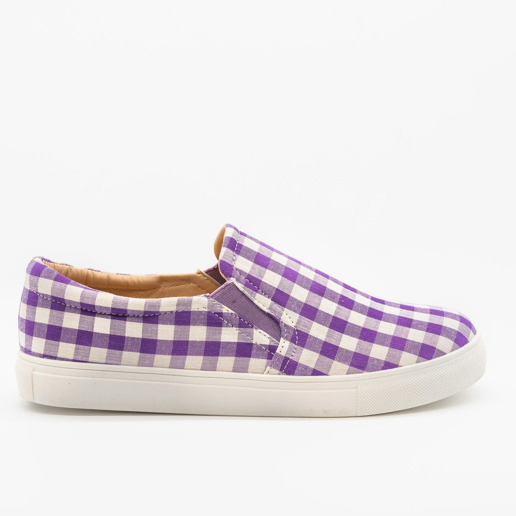 Womens Lovely Gingham Slip-On Sneakers - AMS Shoes - Purple / 5