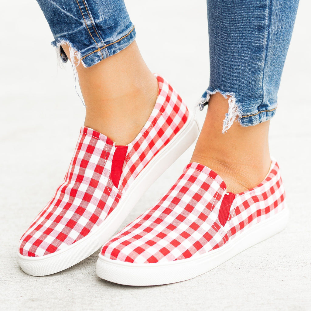 Womens Lovely Gingham Slip-On Sneakers - AMS Shoes - Red / 5
