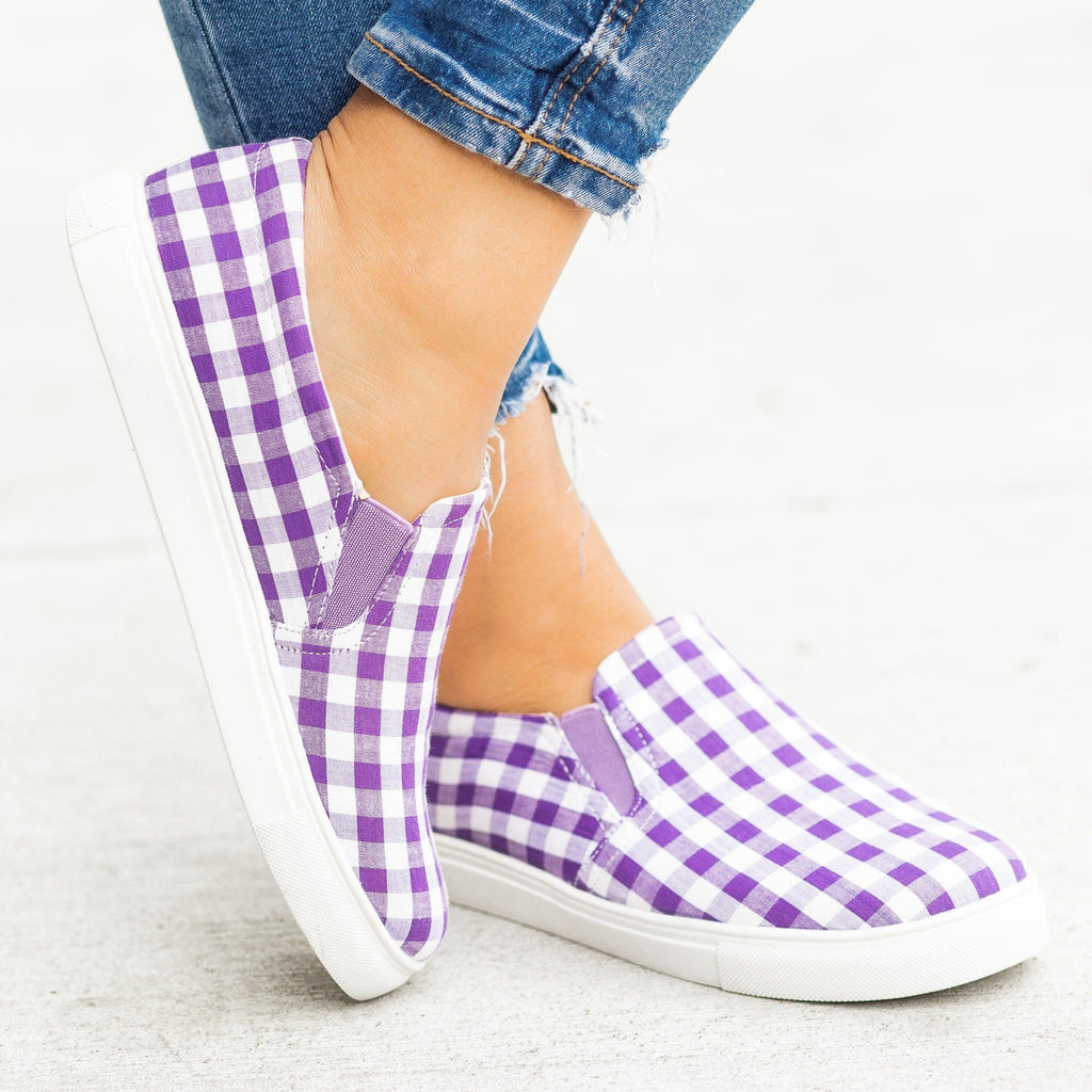Womens Lovely Gingham Slip-On Sneakers - AMS Shoes
