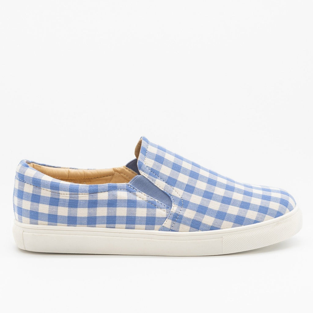 Womens Lovely Gingham Slip-On Sneakers - AMS Shoes - Blue / 5